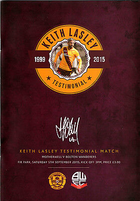 Motherwell v Bolton Wanderers, Keith Lasley Testimonial   5th Sept 2015    Mint