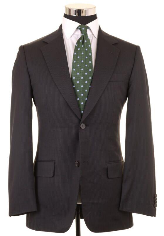 89b57b0dd Hugo Boss Selection Dark Black Navy Striped Super 150s Wool Suit Jacket  Pants 36