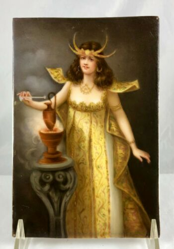 Antique Porcelain Hand Painted Plaque Lady Armor Potion Paris Salon 1898