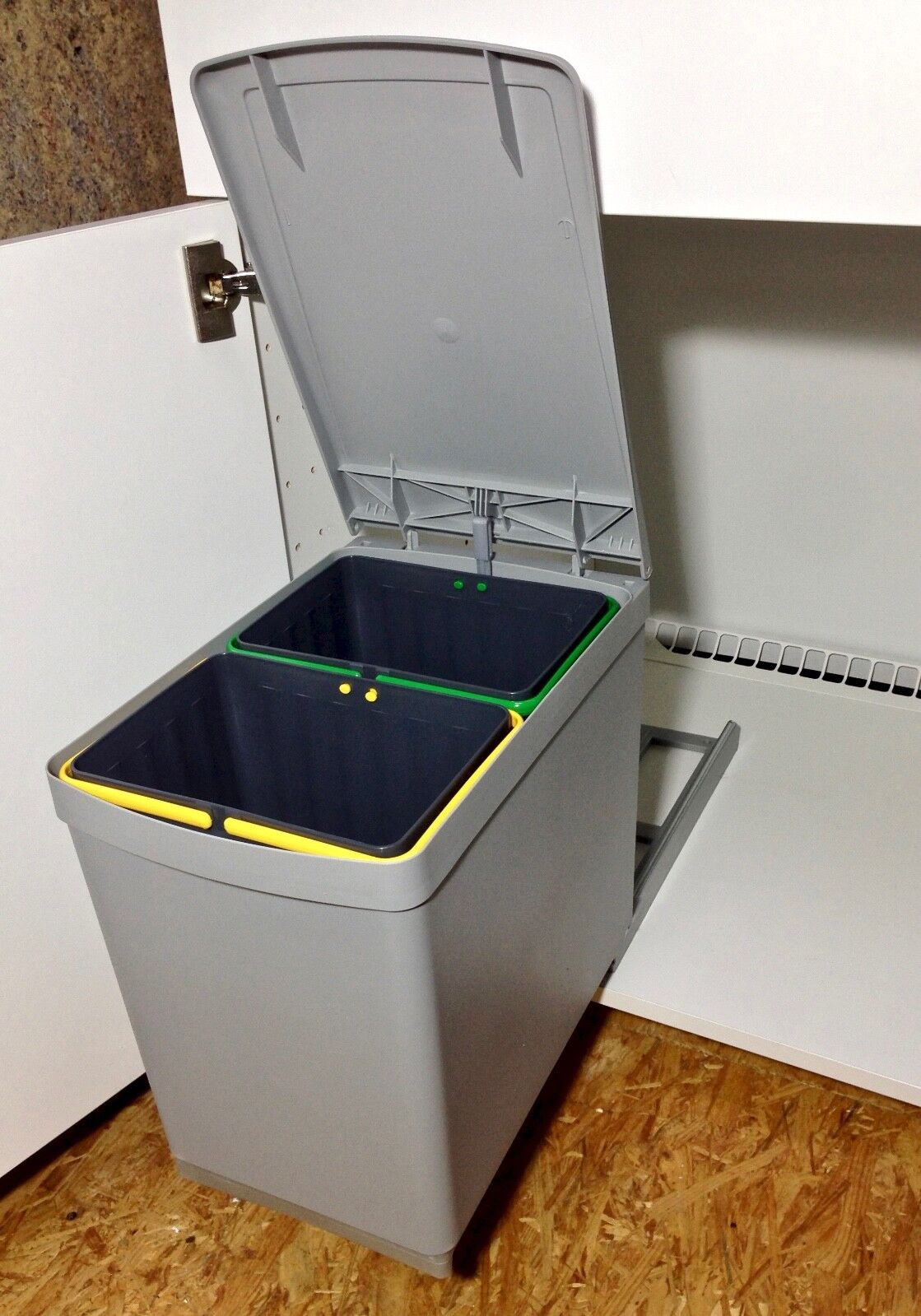 Abfallsammler Mülleimer 15 L (2x7,5 L) Deckelheber Alugrau Einbau 30er Schrank