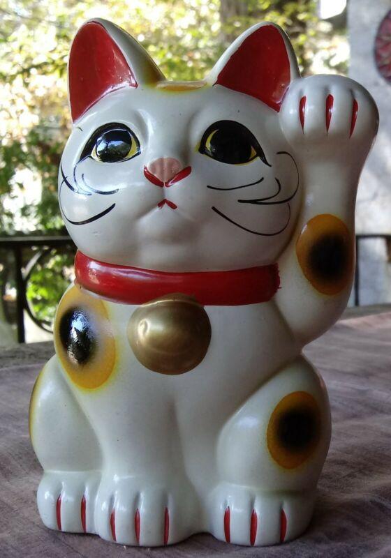 "Vintage MANEKI NEKO Good Luck/Good Fortune KITTY CAT BANK 5 ""T Japan"