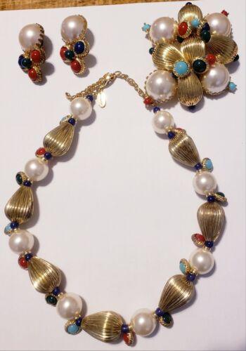 Scaasi faux pearl gem Necklace, large brooch pendant, clip earrings set