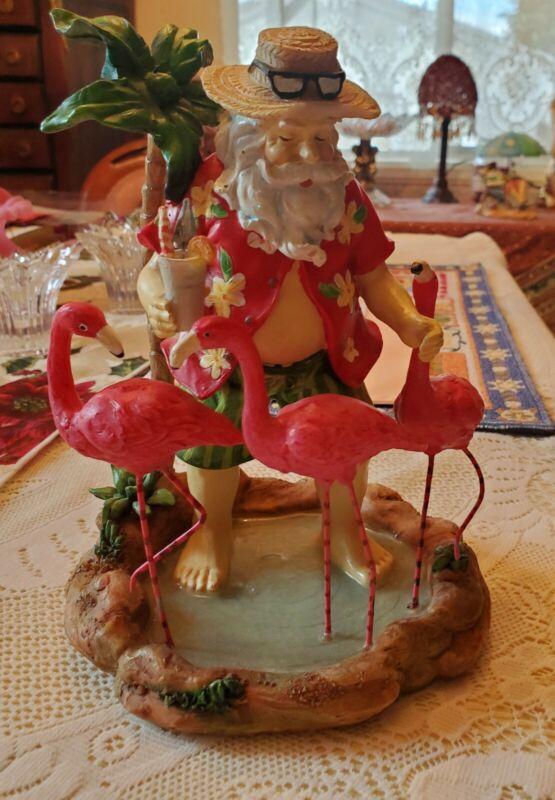 Tropical Tiki Hawaiian Shirt Santa Claus With Pink Flamingos+Palm Tree Figurine
