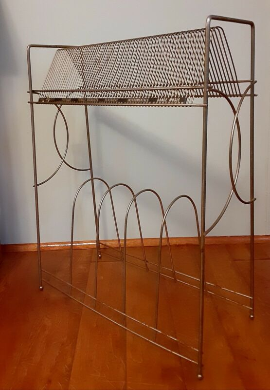 Vintage Mid Century Modern Metal Record Player Stand with LP & 45