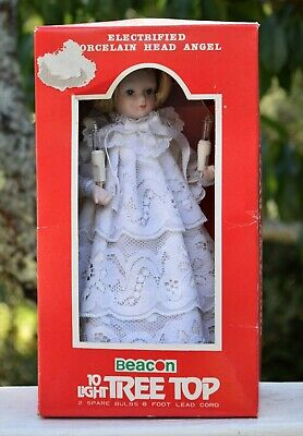 Vintage Beacon Angel 10 Light Up Christmas Tree Top Topper Porcelain Head w Box