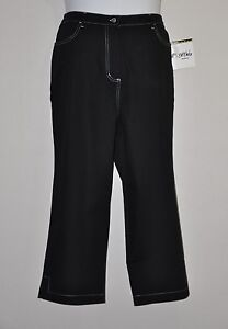 Bob Mackie Straight Leg Cropped Pants with Elastic Waist Size 2X Black