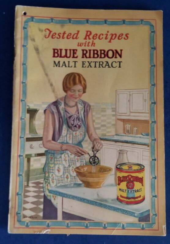 VINTAGE 1927 BLUE RIBBON MALT EXTRACT BAKING COOKBOOK ILLINOIS