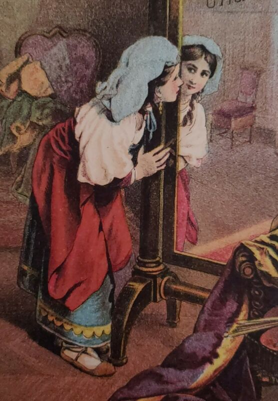 c1890 A Charming Reflection Gypsy Girl Admires Her Reynold