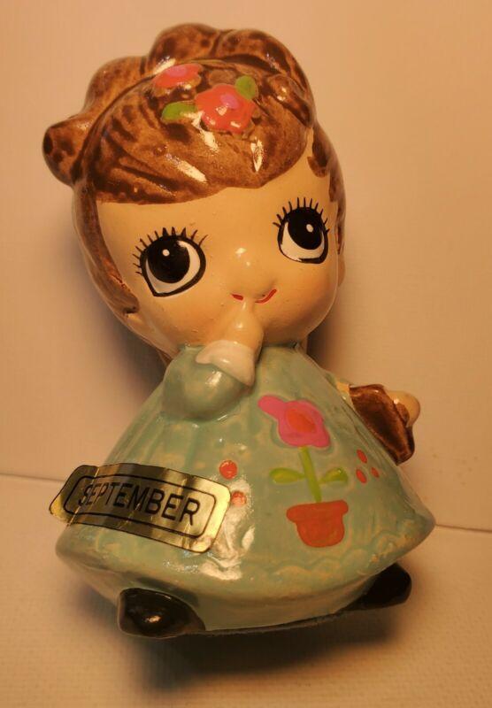 Vintage Josef Originals BIG EYE Paper Mache Sept Birthday Month Girl (Excellent)