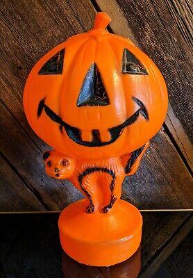 Vtg Halloween Jack-O-Lantern Pumpkin & Black Cat Light Up Blow Mold •WORKS•