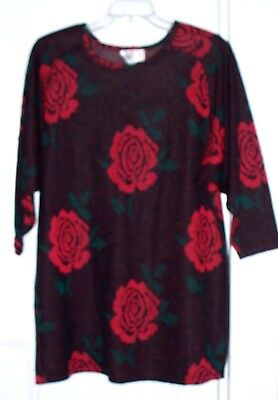 Vintage 1980's Aron Sweater Tunic Dress Large Black Red Roses Great with - Sweater With Tights