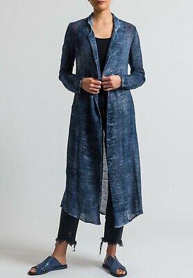 AVANT TOI $815 LINEN COAT DUSTER LONG JACKET BLUE M