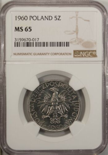 Poland 5 Zlotych 1960 NGC MS 65 UNC  Aluminum