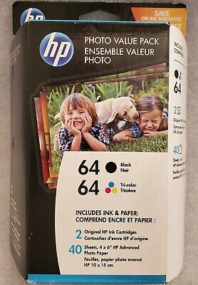 HP 64 Black & Tri-color w/ 40 sheets of HP Photo Paper 4x6 For HP ENVY Photo Tri Colour Photo