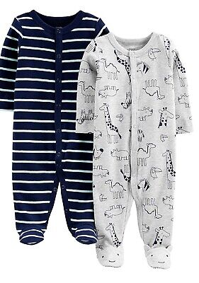 Simple Joys By Carters Boys 2-pack Cotton Snap Footed Sleep & Play