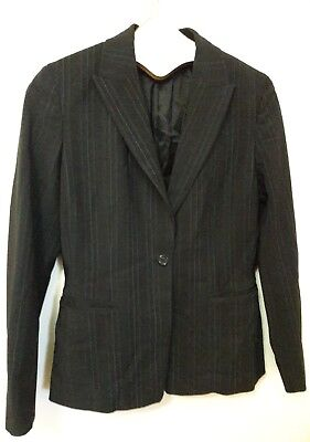 (Elie Tahari Blazer Jacket Black Textured Pinstripe Women Size 8P Lined EUC )
