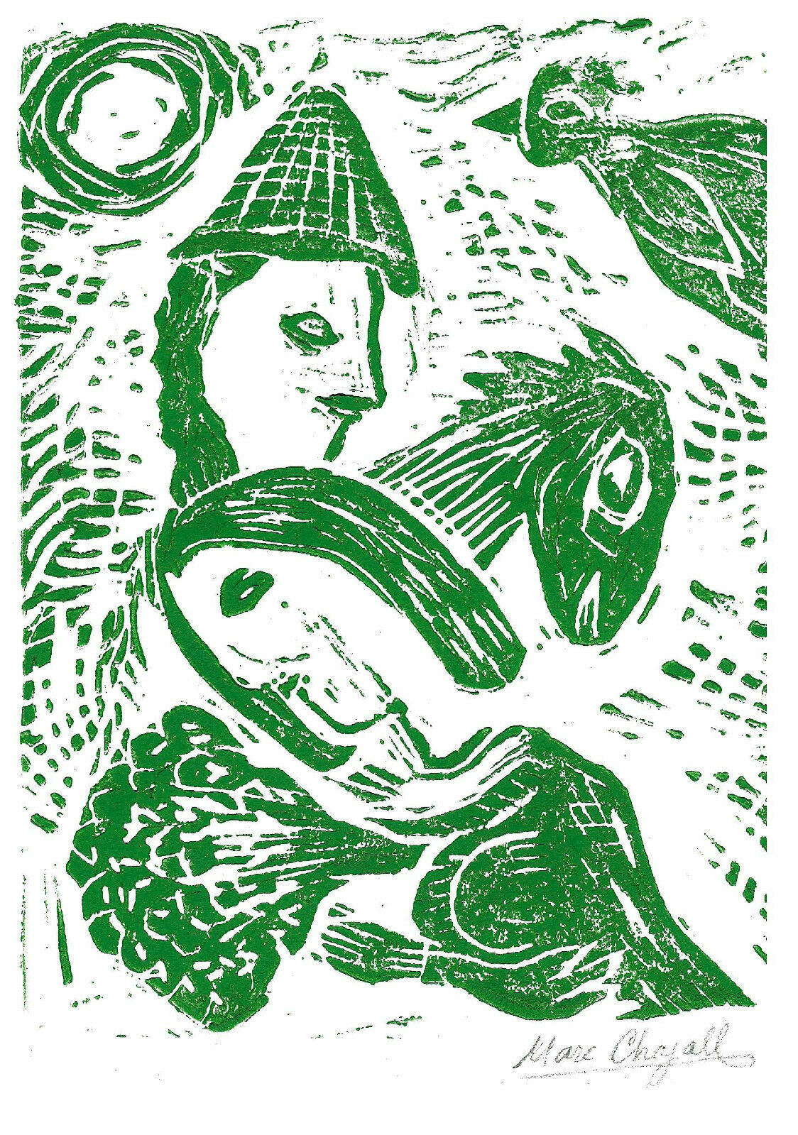 """Marc Chagall Hand Signed Ltd Edition Print """"Couple & Horse"""" with/COA (unframed)"""