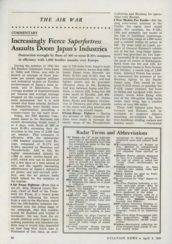 1945 Aviation Article B-29 Superfortress Bombing Japan Industries WWII Bomber
