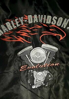 Harley Davidson Mens Black Bomber Jacket Size L - Big Embroidered Logo on Back