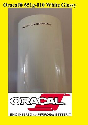 "12"" x 10 FT Roll White Glossy Oracal 651  Vinyl Adhesive Cutter Plotter Sign 010"
