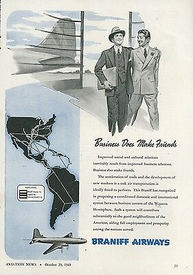 1945 Braniff Airways Ad Proposed Airline System for Business Vintage Travel