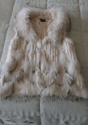 JayLey Collection Real Fur Gilet, White/Creme/Black One Size 8 -12