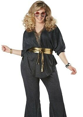 Womens Disco Dazzler Costume 70s Dancing Queen Outfit 1970's Plus Size 1X 2X