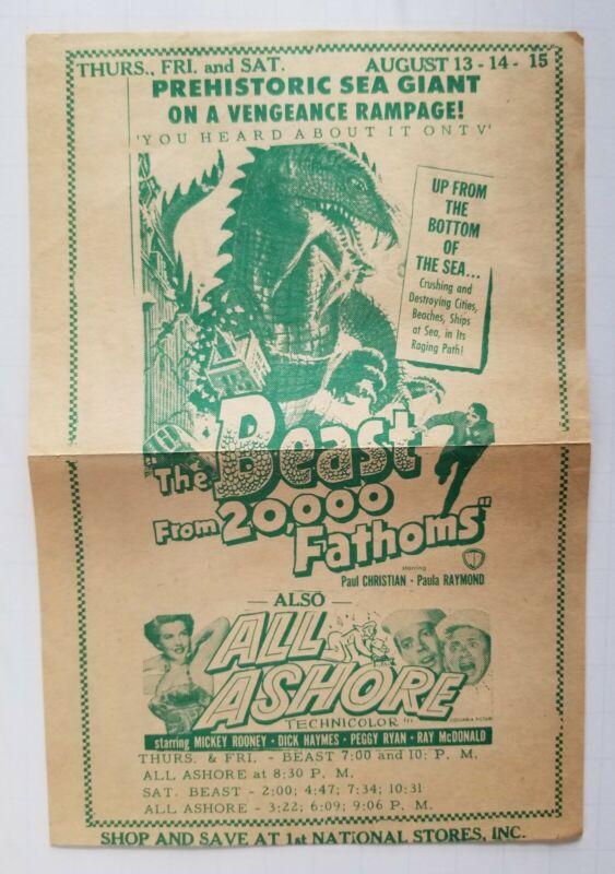 BEAST FROM 20,000 FATHOMS 1953 Original Movie Flyer program Sci-Fi Horror