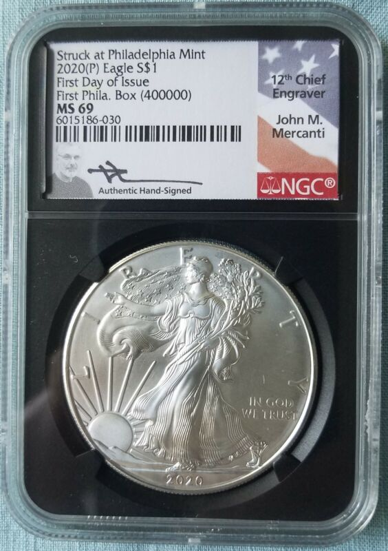 2020 (P) $1 Silver Eagle Philadelphia Emergency Issue NGC MS69 FDOI FIRST BOX