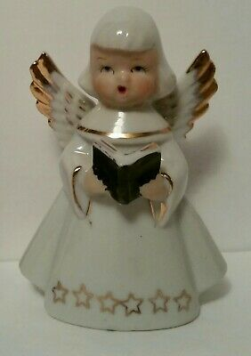 VINTAGE White Ceramic Christmas ANGEL w/ Choir Book figurine Decor CHASE JAPAN  ()