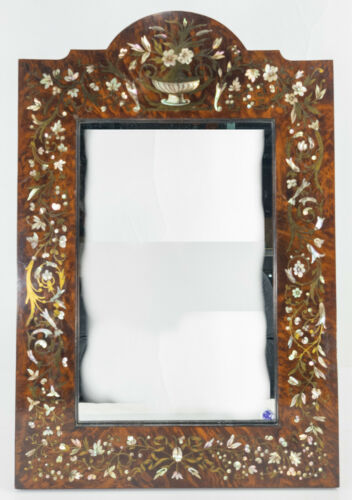 Antique Finely Inlaid Decorative Wall Mirror Boulle Style Mother of Pearl Abalon