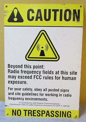 Vtg CAUTION NO TRESPASSING RADIO Industrial Sign 18 x 12 Man Cave/Steampunk S339