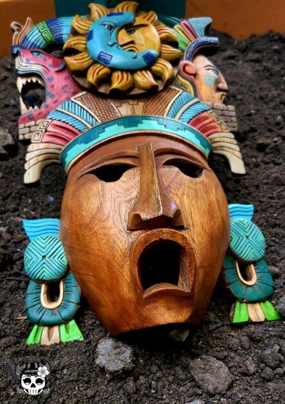 "Mayan Mask Mexican Hand Carved Cedar Maya Folk Art Aztec Decor 14"" Eclipse Mask"