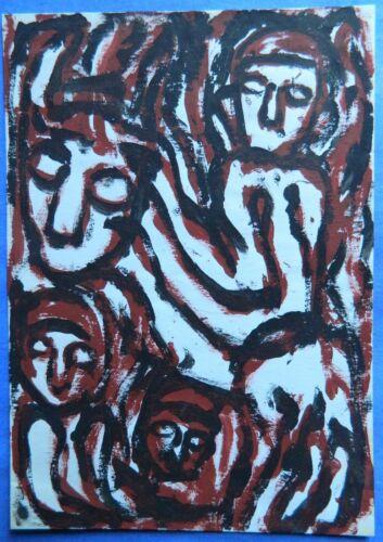 Outsider Art Painting on Paper Envelope by MICHELE NEDJAR/ Paris, France/1988