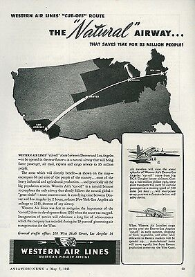 1945 Western Air Lines Ad New Route Between Los Angeles & Denver Great Circle