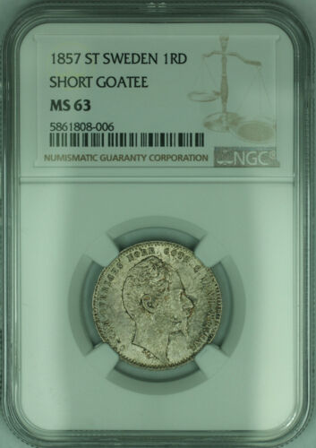 1857 ST Sweden 1 Riksdaler Short Goatee KM# 689 Silver Coin NGC MS-63 Toned