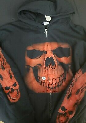 MORGUE SALE: Gothic Steampunk Red Scourge Skull Hoody Large Retired Design