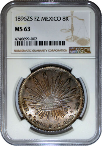 1896 ZS FZ Mexico 8 Reales NGC MS 63 ZACATECAS MINT