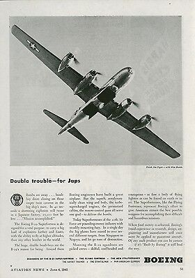 1945 Boeing Aircraft Ad B-29 Superfortress Double Trouble for Japs WWII Vintage