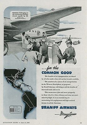 1945 Braniff Airways Ad Airline System for the Common Good Vintage Travel