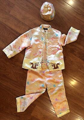 Chinese Halloween Costume Lined Satin Dragon Pajamas - 3 Piece - Size 4/5 (10) - Lined Satin Pajamas