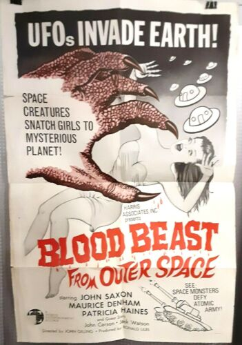folded poster BLOOD BEAST FROM OUTER SPACE 1965 US1sht 27x41 JOHN SAXON Rare HTF