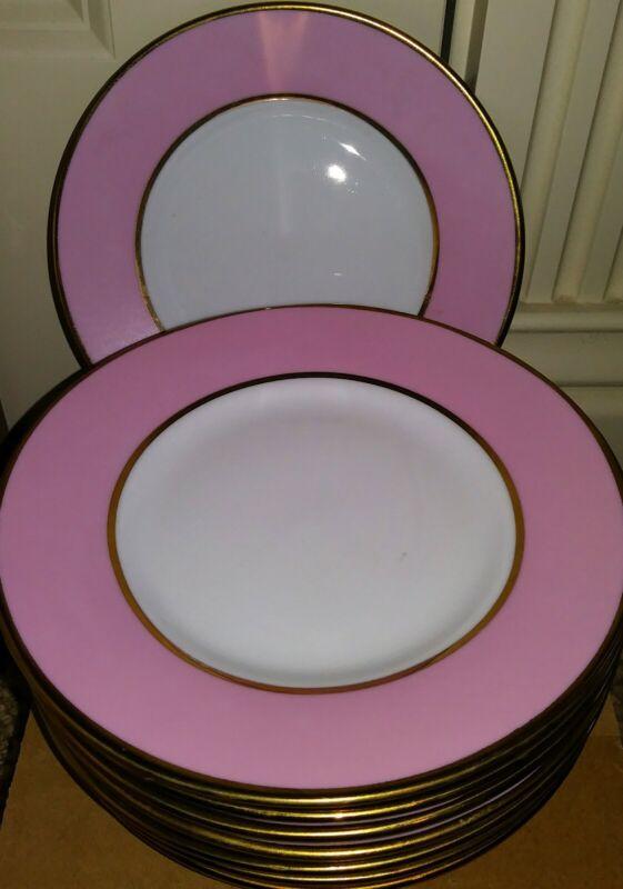 Lot of 8 Very Rare Ciroa Luxe Circle Pink & Gold Salad Plates