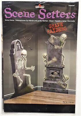 2 x Wand-Deko Halloween Horror Skelett  Monster Zimmerdekoration Thron Grabstein