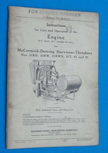 Vintage 1940 McCormick-Deering Harvester-Threshers Engine Care Operation Manual