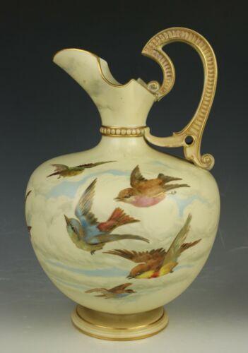 19C Royal Worcester Charles Baldwyn 1227 Ewer with Birds