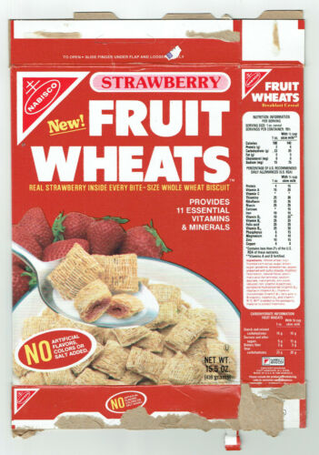 Nabisco New! Strawberry Fruit Wheats Cereal 15.5 oz Flat Box ~ 1988