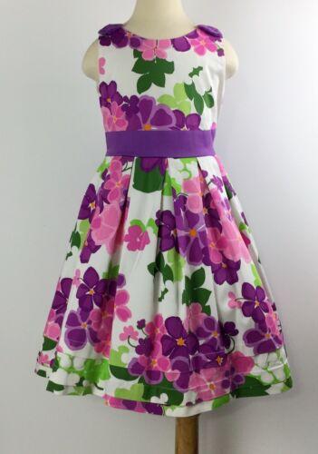 HARTSTRINGS Dress Sz 6x White Purple Green Floral Dress Purple Bow
