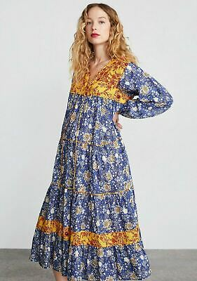 Zara Divine Contrast Yellow and Blue Floral Print Tunic Maxi Dress Size XS