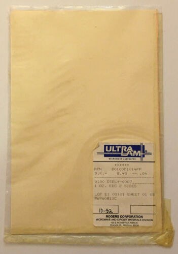 """Rogers UltraLam MW PCB Material type 0.010"""" thk 6x9 Sheet 1oz Cu Double Clad"""